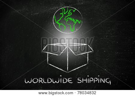 World Coming Out Of A Box, Concept Of Worldwide Shipping