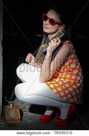 Girl With Old Telephone