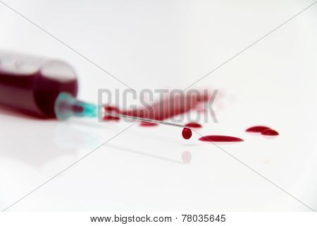Syringe of Red Blood Test for research HIV AIDS Concept Idea