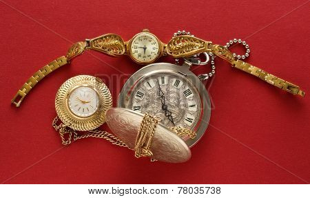 Two Pocket Watches And Handwatch