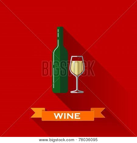vector illustration with a wineglass and bottle of wine in flat design style