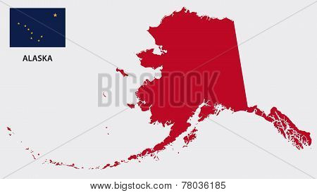Alaska Map With Flag