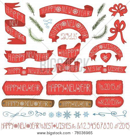 New year ribbons, badges,winter decor set
