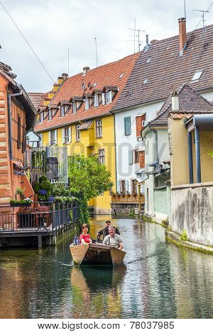 People Visit Little Venice In Colmar, France