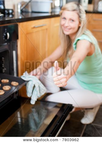 Bright Housewife Preparing Cookies