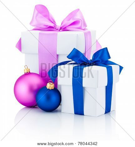 Two White Boxs Tied Red And Pink Ribbon Bow And Christmas Balls Isolated On White Background