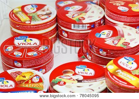 Perm, Russia - Aug 18, 2014: Cheese Valio In Russian Shop. Aug 6, 2014 Russia Has Imposed Sanctions