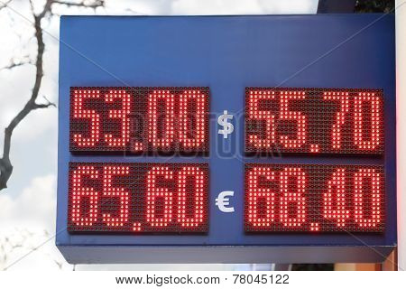 Street Display With Red Digits Exchange Rates - Dollar And Euro. Due To Conflict In Ukraine Ruble Fa