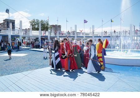 Perm, Russia - Jun 11, 2013:  Group Of Musicians In Costumes Leave Stage At Festival White Nights In