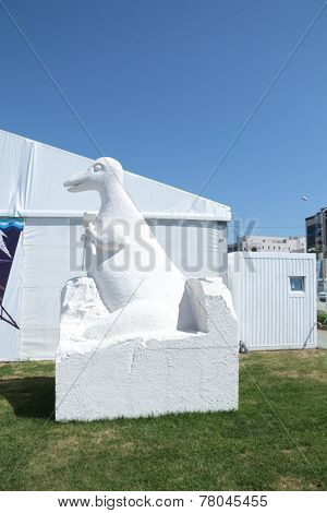 Perm, Russia - Jun 11, 2013: Dinosaur Sculpture Of Polyfoam On Festival White Nights In Perm