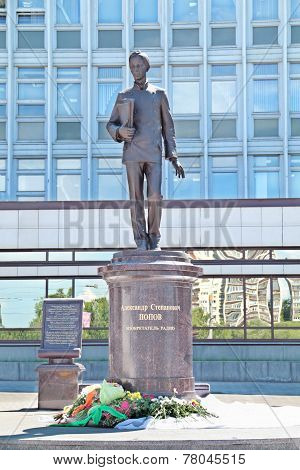 Perm, Russia - Jun 11, 2013: Monument To Alexander Popov, The Famous Inventor Of The Radio In Perm.