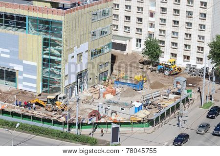 Perm, Russia - Jun 25, 2014: Popova Street And Shopping Center Iceberg Crystal Under Construction. I