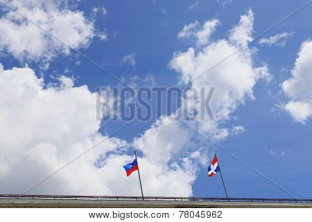 Russian Flag And Flag Of Perm Region