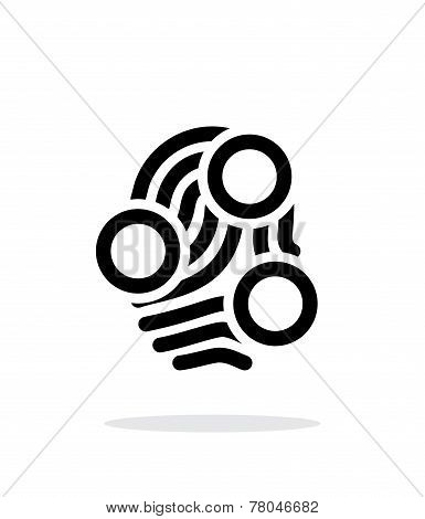 Fingerprint loop type scan icon on white background.