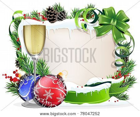 Paper Scroll With Glass Of Champagne And Christmas Ornaments