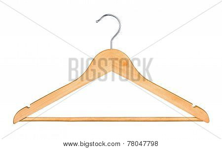 Wooden Hanger For Clothes Isolated On White Background