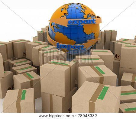Import and export arrow around earth for business. Concept of buying goods worldwide. 3d illustration on white background