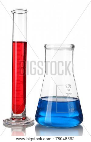 Test-tube and flask with colorful fluid isolated on white