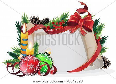 Paper Scroll With Red Bow, Candles And Christmas Balls