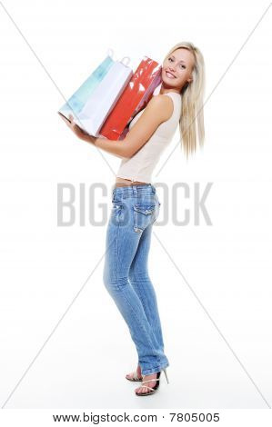 Happy Smiling Woman Avter Shopping