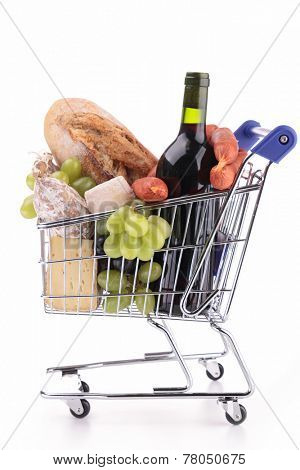 shopping cart with grocery