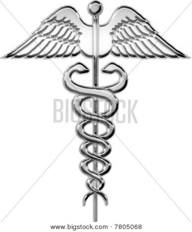 Chrome Caduceus Medical Symbol