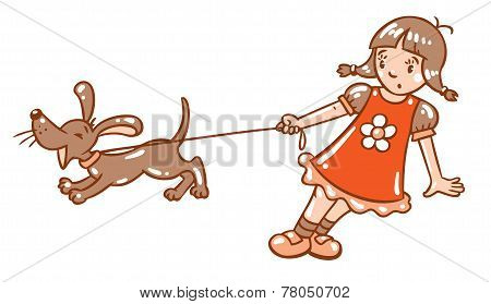 Girl With Barking Dog