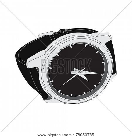 black wristwatch on white background