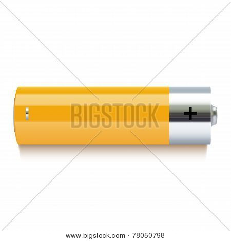 Realistic yellow battery icon