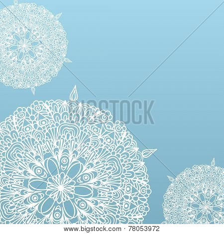 Blue Background With Fragile White Lacy Patterns