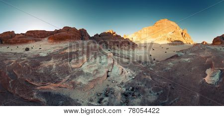Panorama of the rocky desert in Sinai, Egypt