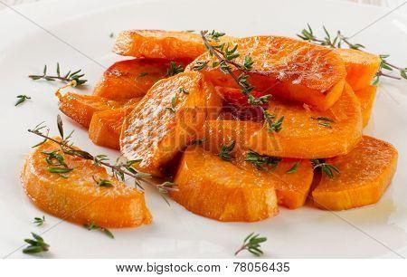 Baked Sweet Potato Wedges On  White Plate