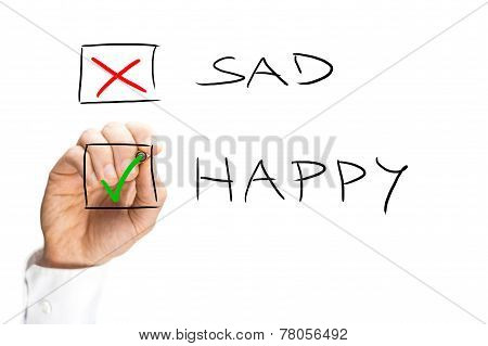 Man Marking X On Sad And Check On Happy