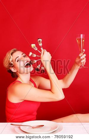 Happy Woman Holding a Fan of Fork and Wine Glass