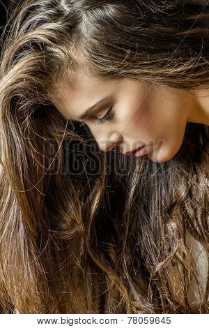 young brunette woman face and hair