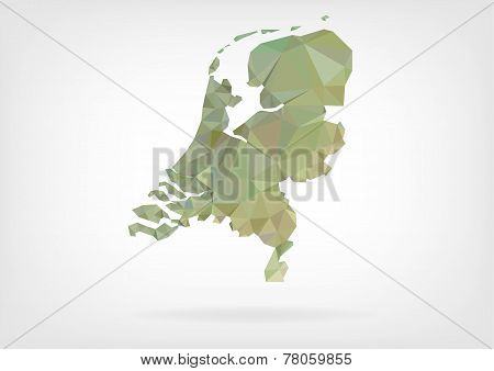 Low Poly map of Netherlands