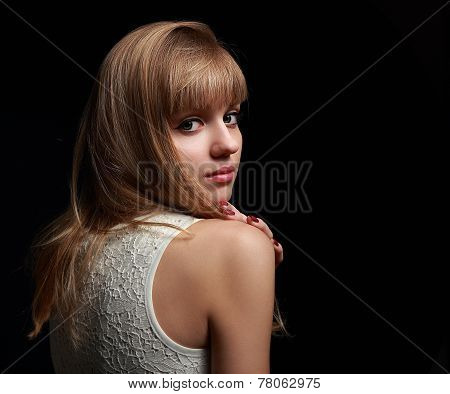 Beautiful Natural Lady With Bob Hair Style Looking On Black Background