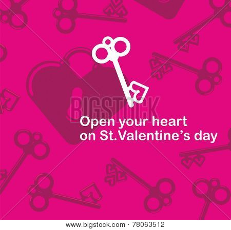 Valentine's Day Lover Lock And Antique Key