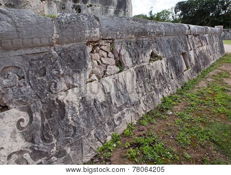 Chichen Itza . Fragment of a wall of a pyramid with an ancient ornament. Yucatan Mexico