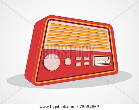 Retro transistor radio isolated on shiny white background.