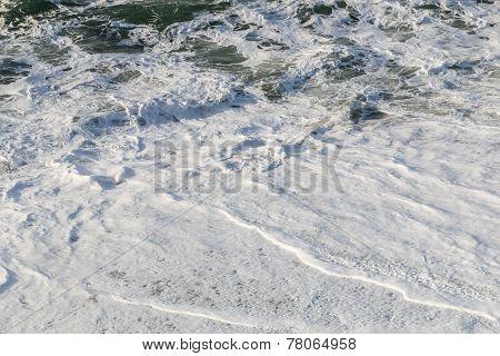 Waves And Backwash On A Sandy Beach