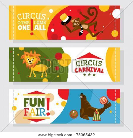 Circus banners with animals vector illustration
