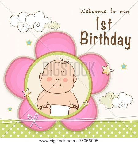 Kids 1st Birthday celebration Invitation card design with cute baby.