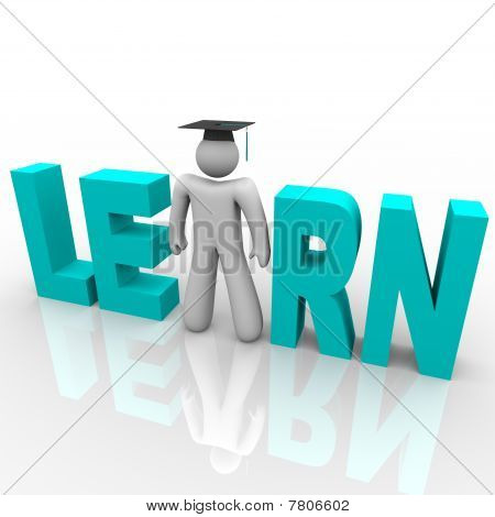Learn - Man In Word With Graduation Cap