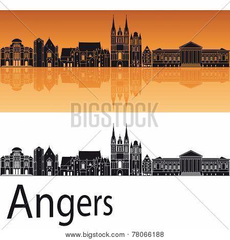 Angers Skyline In Orange Background