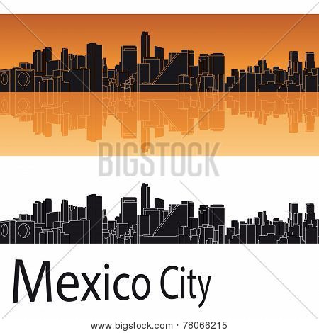 Mexico City Skyline In Orange Background