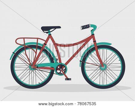 Retro bicycle isolated on shiny grey background.