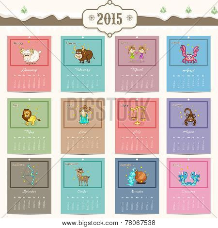Annual calendar of 2015 with zodiac or horoscope signs for Happy New Year celebrations.