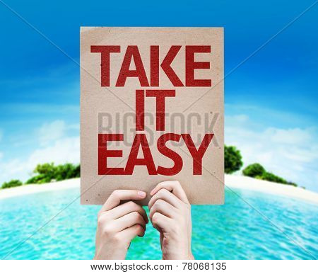 Take It Easy card with a beach on background