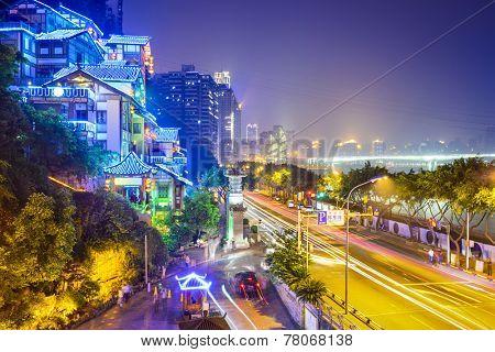 Chongqing, China cityscape at Hongyadong hillside buildings.